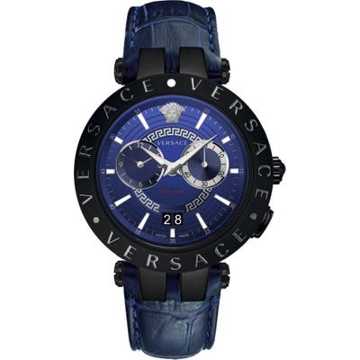 Versace V-Race Dual Time Leather Strap Watch, 4m