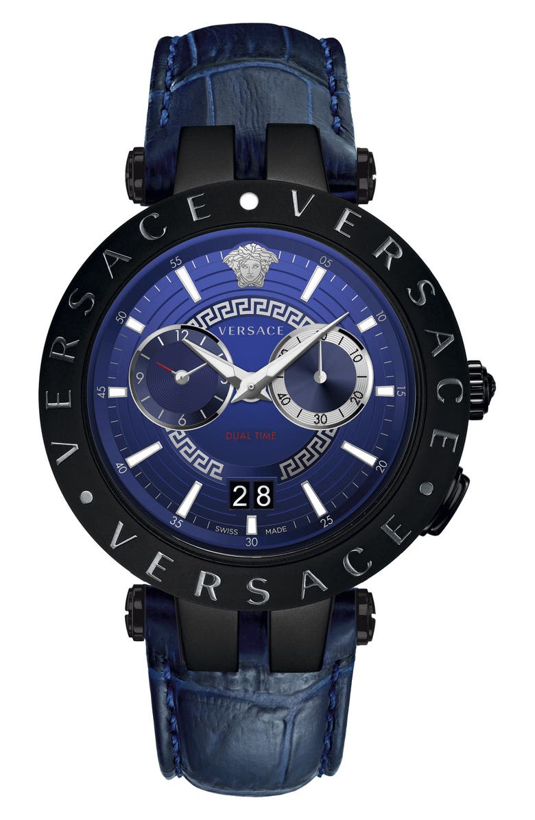 VERSACE V-Race Dual Time Leather Strap Watch, 46mm, Main, color, BLUE/ BLACK