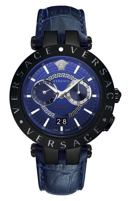 Image of Versace V-Race Dual Time Leather Strap Watch, 46mm