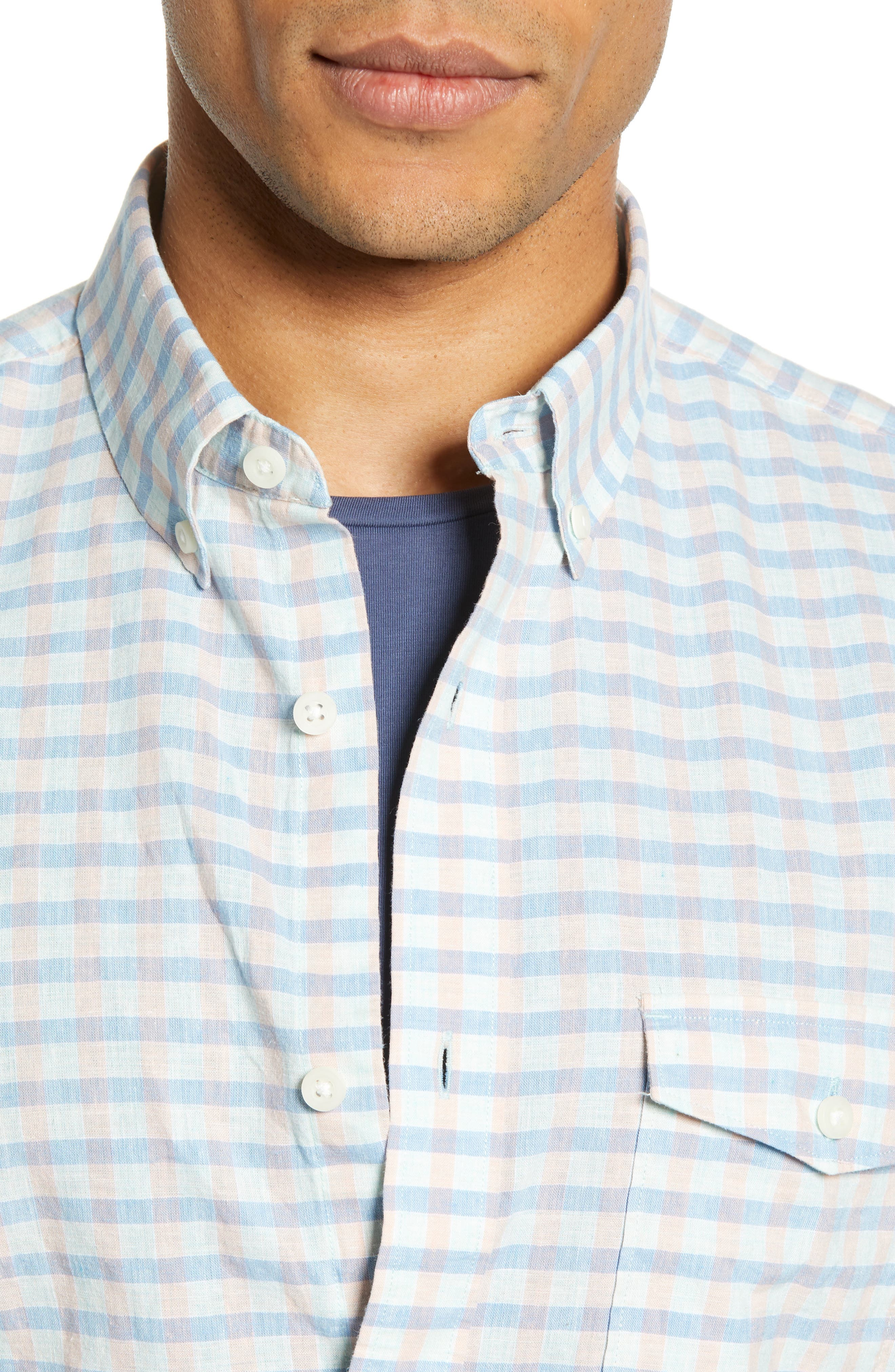 ,                             Ivy Heather Linen Blend Slim Fit Sport Shirt,                             Alternate thumbnail 2, color,                             TEAL FAIR BLUE GINGHAM