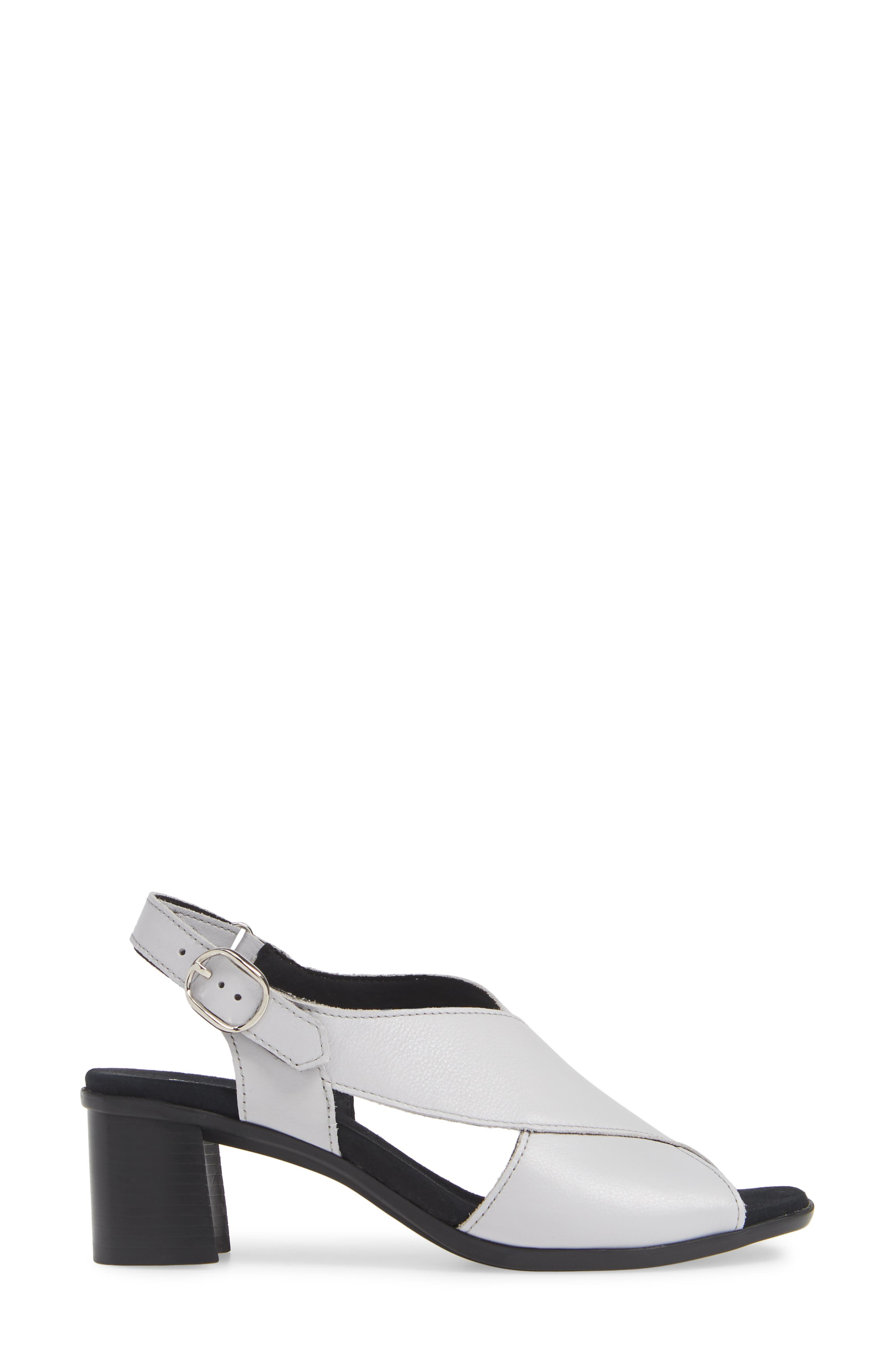 ,                             Laine Block Heel Sandal,                             Alternate thumbnail 3, color,                             WHITE LEATHER