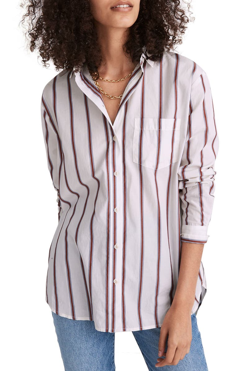MADEWELL Odessa Stripe Oversize Ex-Boyfriend Shirt, Main, color, ANGELES STRIPES LIGHTHOUSE