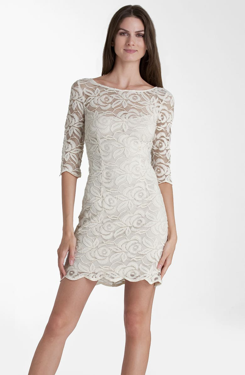 JS COLLECTIONS Boatneck Lace Overlay Sheath Dress, Main, color, 283