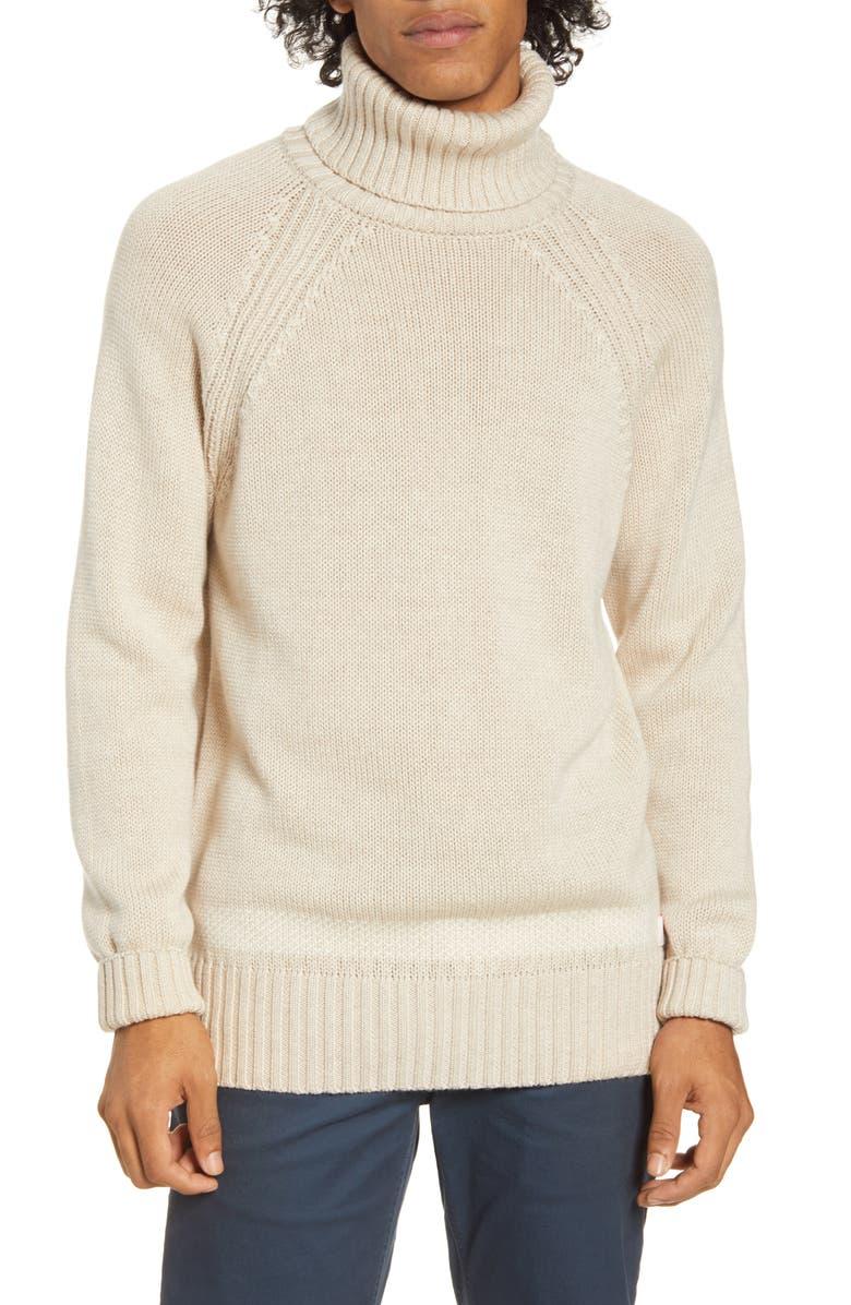 SCOTCH & SODA Turtleneck Wool Sweater, Main, color, ECRU MELANGE