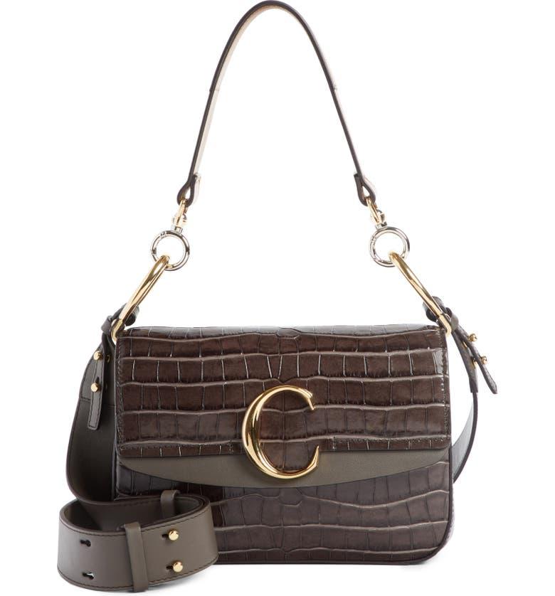 CHLOÉ Croc Embossed Leather Shoulder Bag, Main, color, PROFOUND BROWN