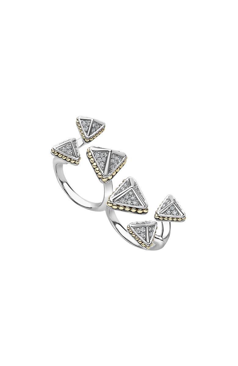 LAGOS KSL Lux Diamond Two-Finger Ring, Main, color, SILVER/ DIAMOND