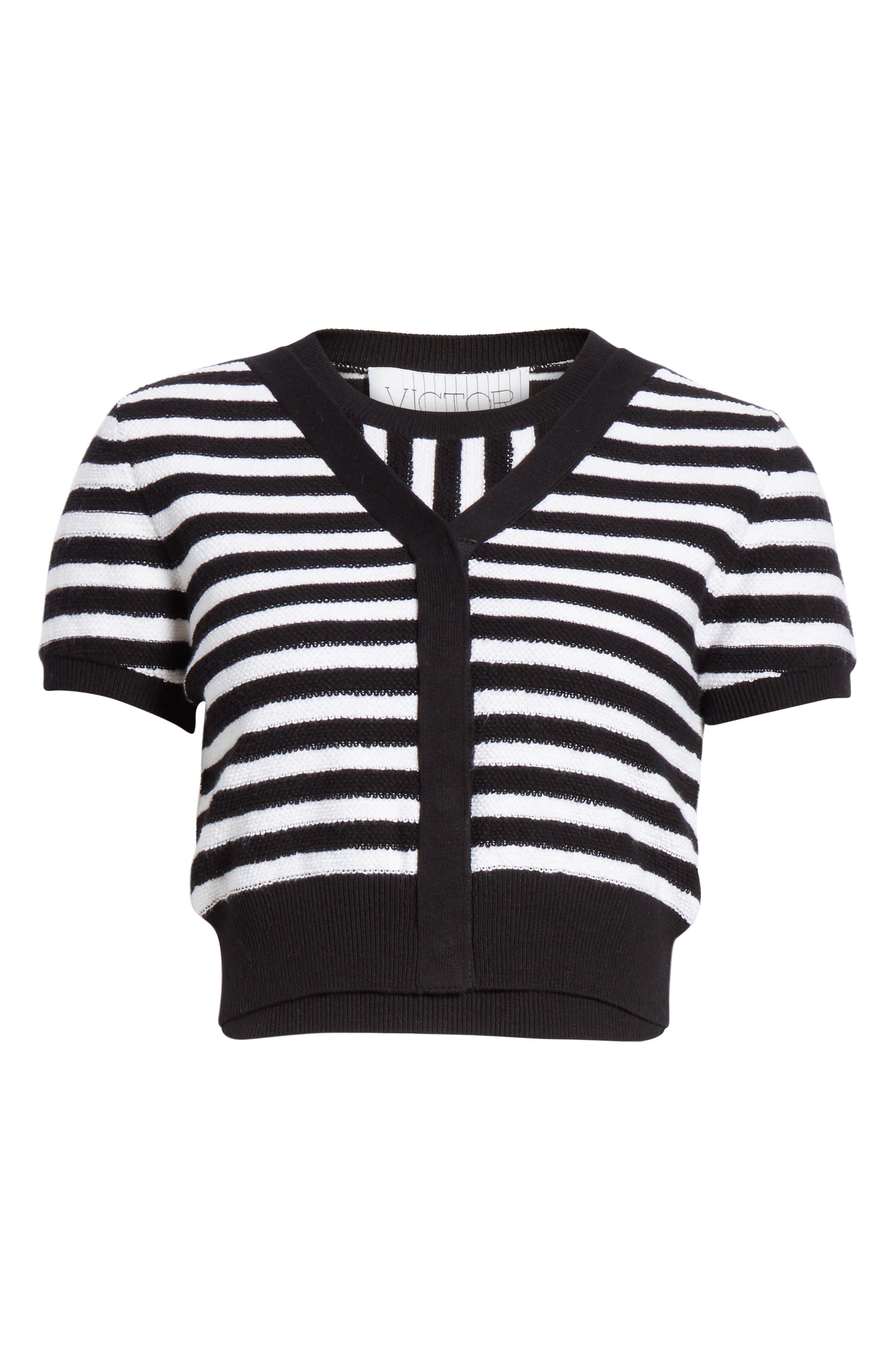 ,                             Short Sleeve Crop Cardigan,                             Alternate thumbnail 7, color,                             WHITE/ BLACK STRIPES