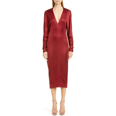 Cushnie Cowl Back Long Sleeve Midi Dress, Burgundy