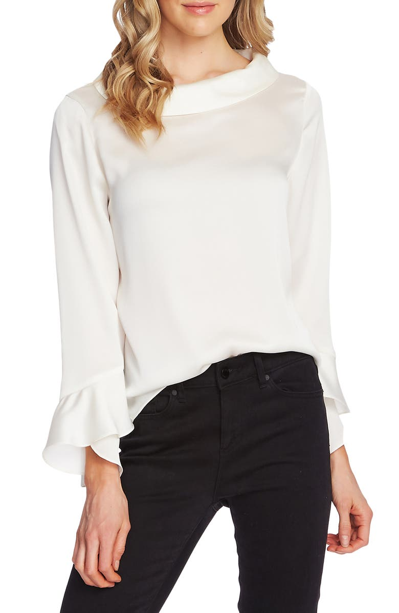 VINCE CAMUTO Portrait Collar Flutter Cuff Satin Blouse, Main, color, PEARL IVORY