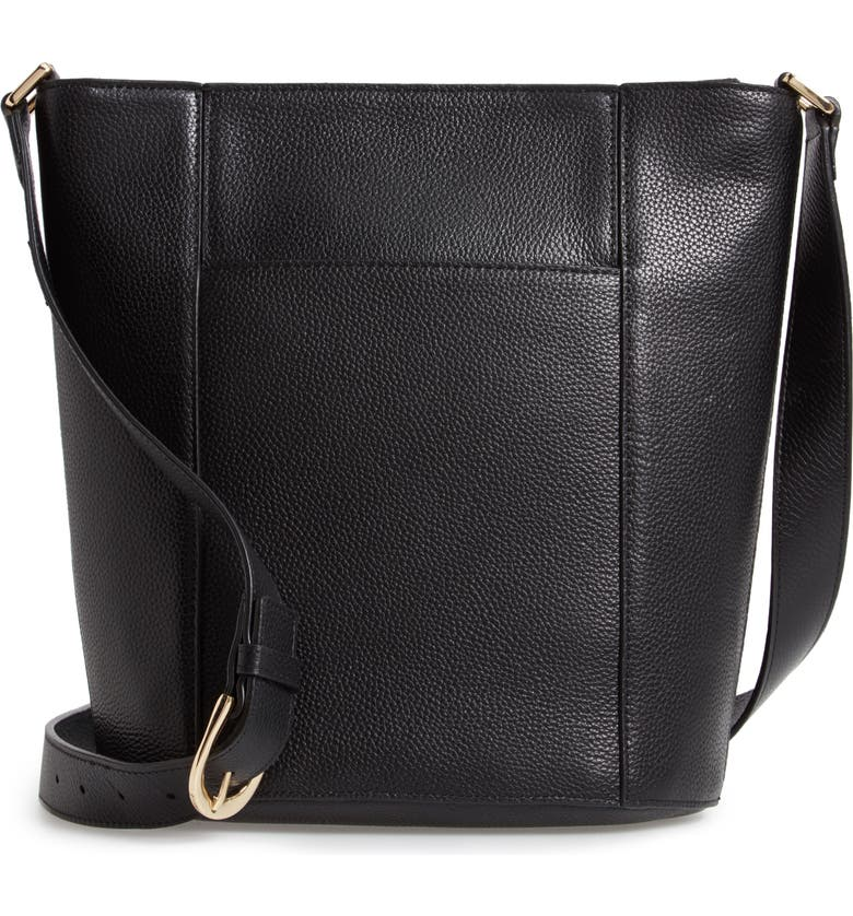 NORDSTROM Loraine Leather Bucket Bag, Main, color, BLACK