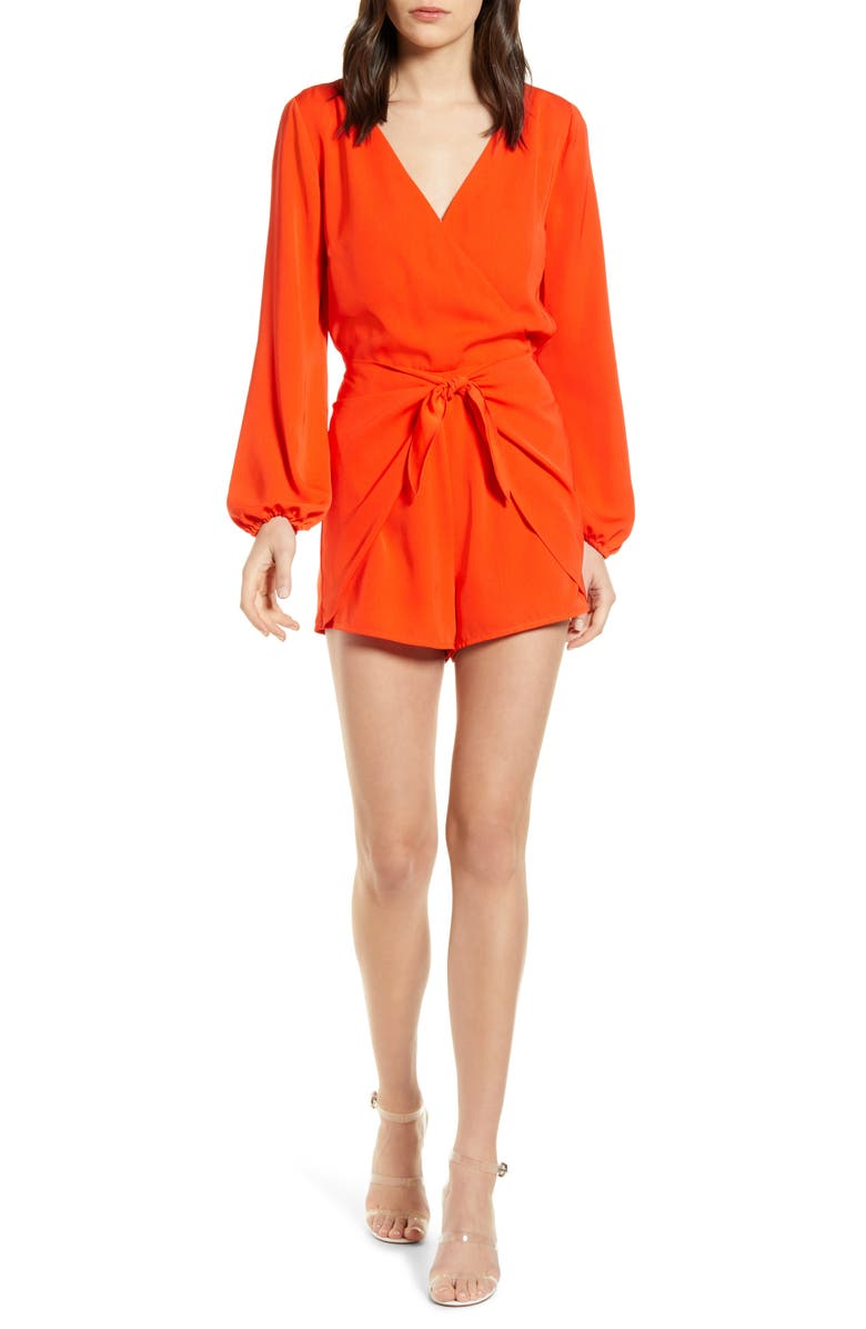 CUPCAKES AND CASHMERE Gideon Satin Romper, Main, color, RED HOTS