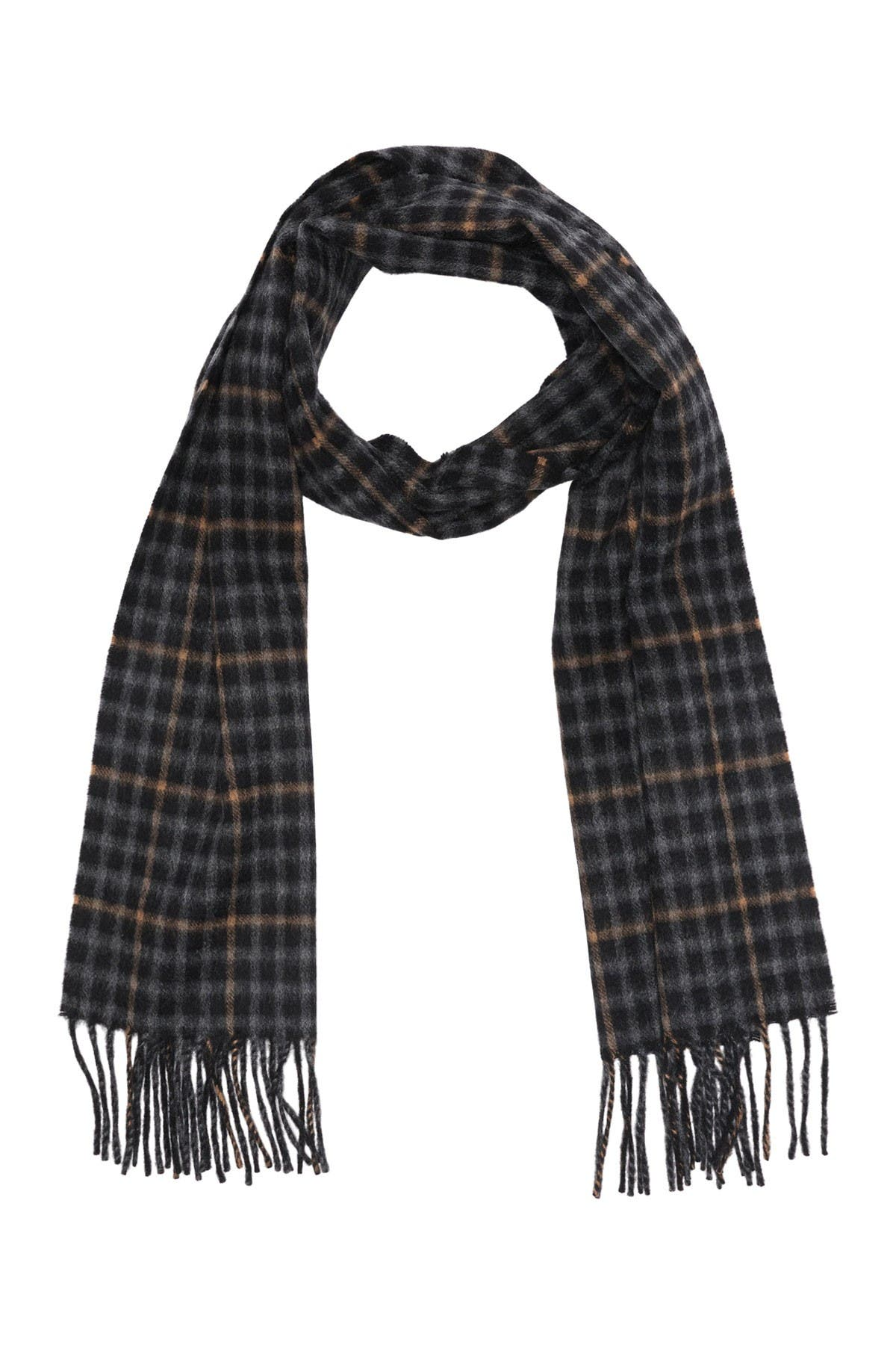 Image of Hickey Freeman Cashmere Gingham Windowpane Scarf