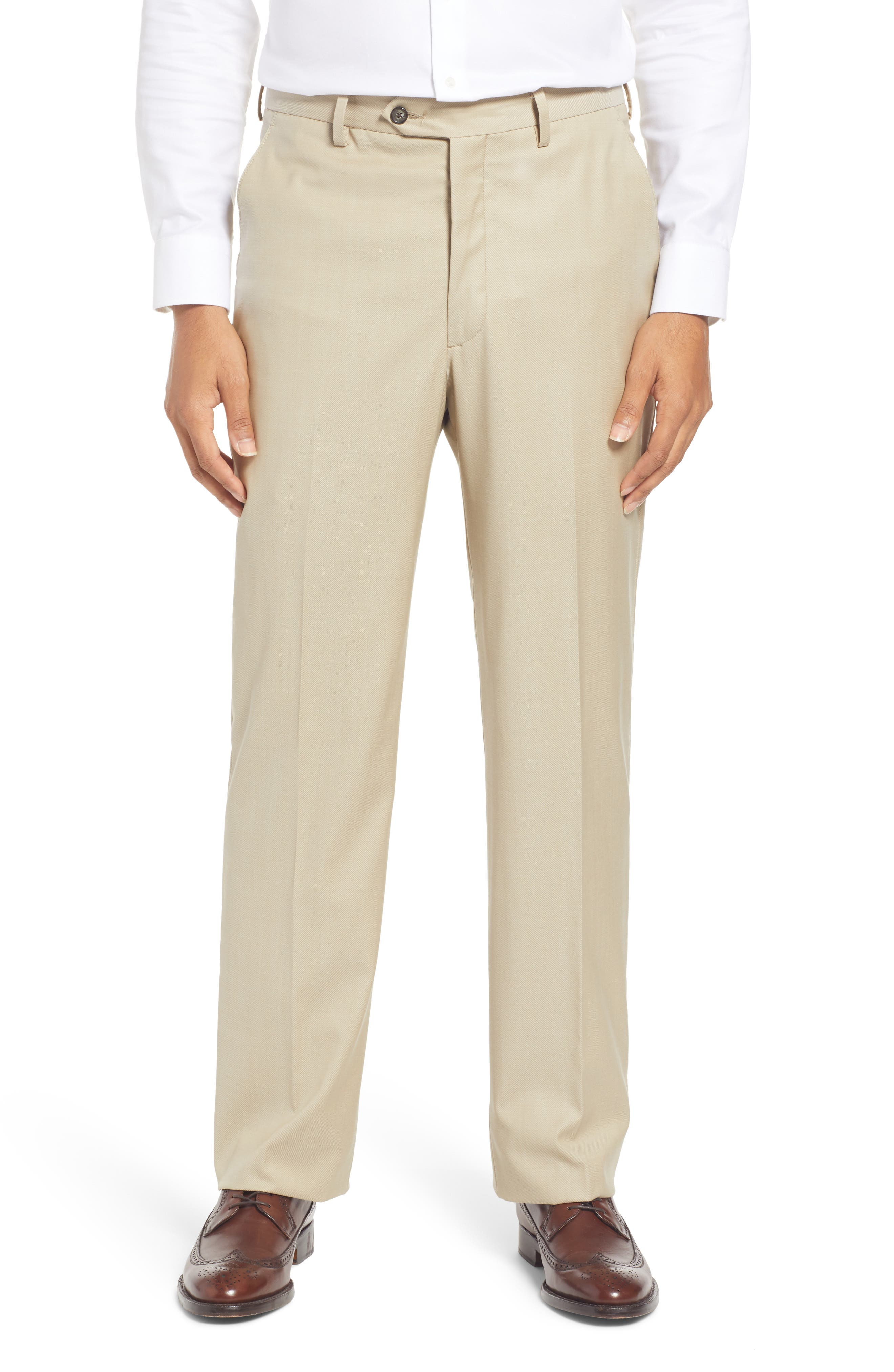 Men's Flat Front Solid Stretch Wool Pants