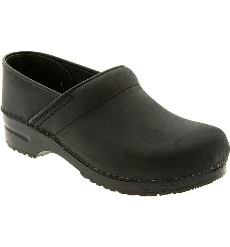DANSKO 'Professional' Oiled Leather Clog, Main, color, BLACK OILED