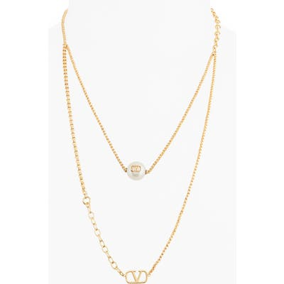 Valentino Vlogo Imitation Pearl Layered Necklace