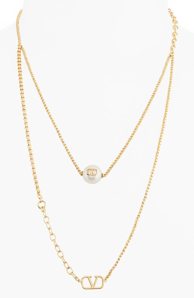 VALENTINO VLOGO Imitation Pearl Layered Necklace, Main, color, GOLD/ PEARL