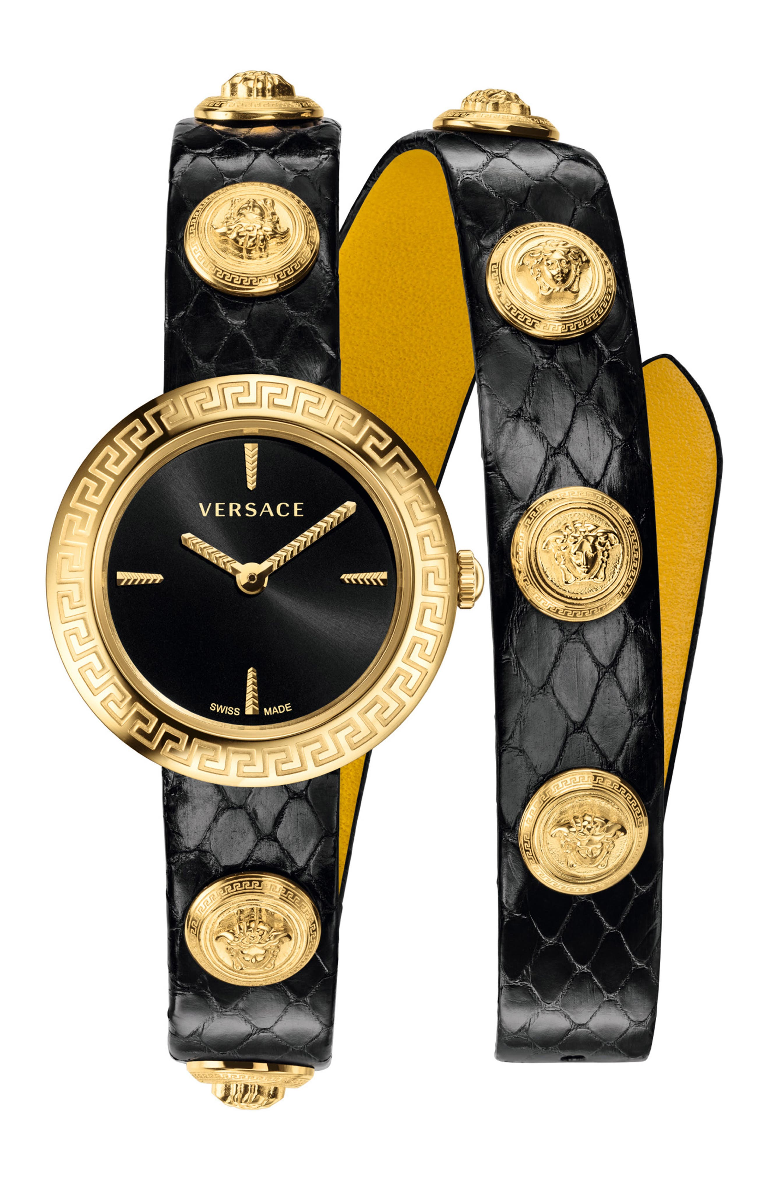 ,                             Medusa Stud Icon Leather Strap Watch, 28mm,                             Main thumbnail 1, color,                             BLACK/ GOLD