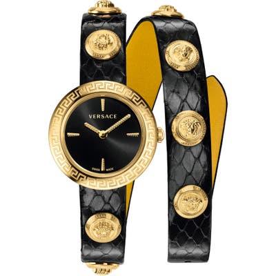 Versace Medusa Stud Icon Leather Strap Watch, 2m