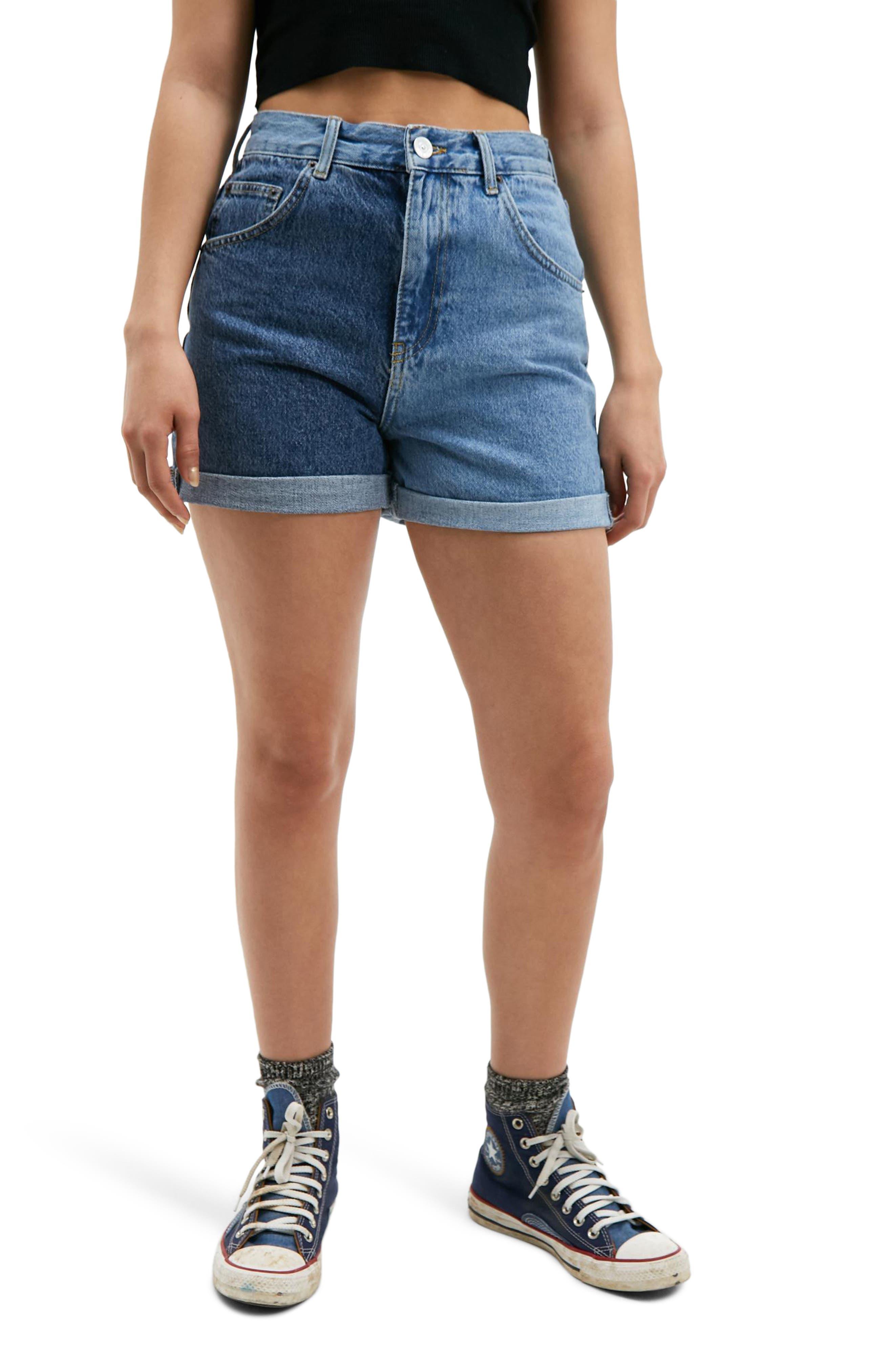 Two-Tone High Waist Roll Cuff Denim Shorts