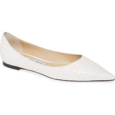 Jimmy Choo Love Pointy Toe Flat, White