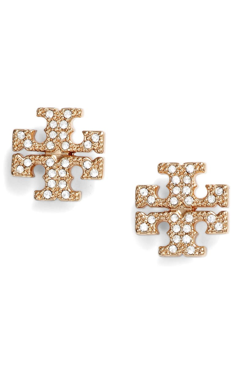 TORY BURCH Crystal Logo Stud Earrings, Main, color, TORY GOLD / CRYSTAL
