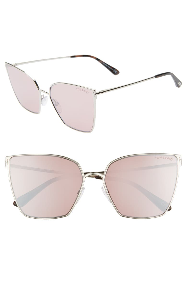 TOM FORD Helena 59mm Cat Eye Sunglasses, Main, color, PALLADIUM/ HAVANA/ PINK SILVER