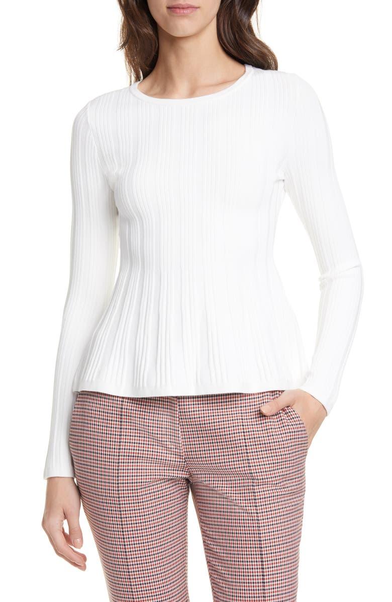 HUGO Sierita Peplum Ribbed Pullover, Main, color, NATURAL