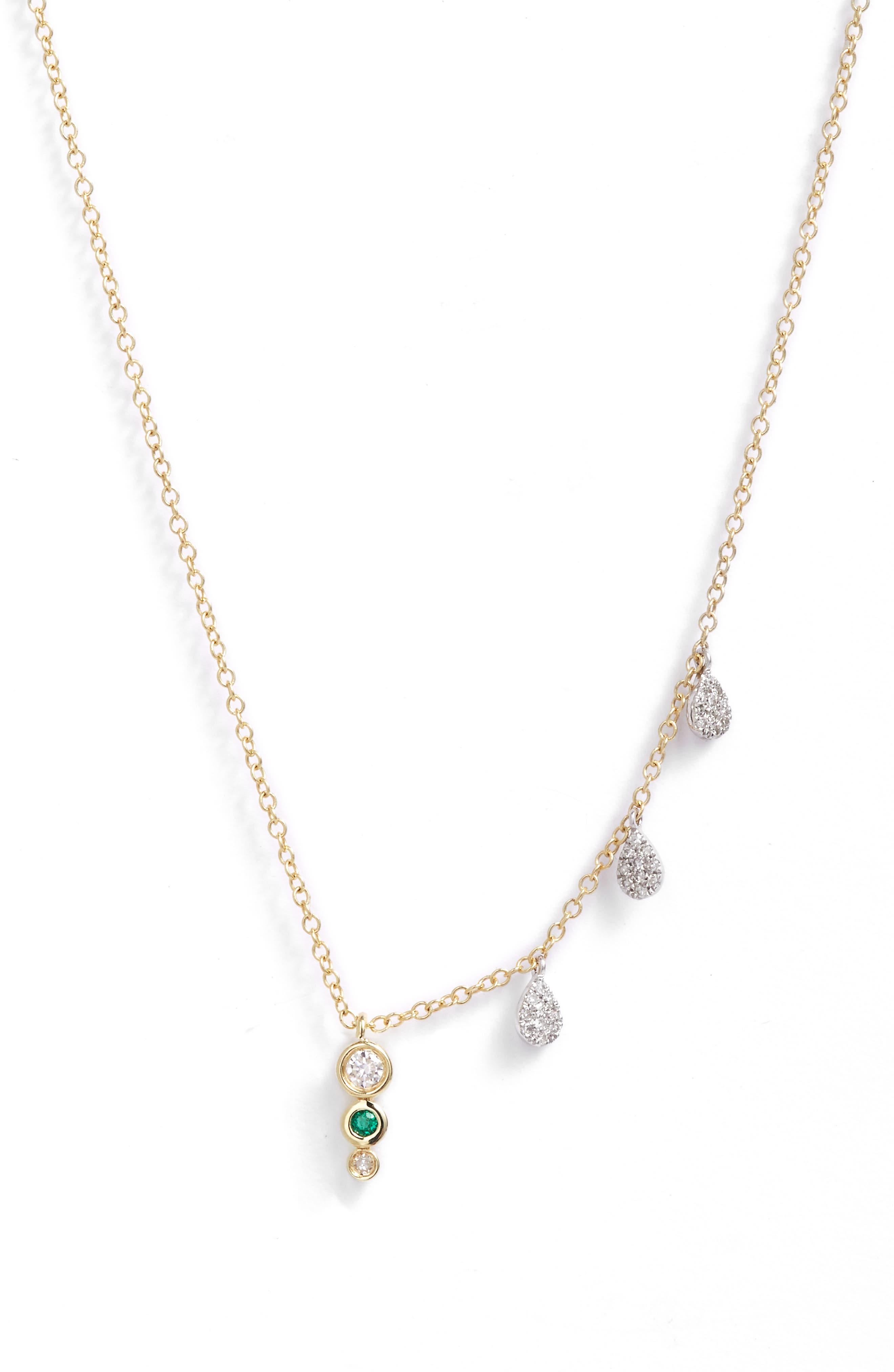Diamond & Emerald Multi Charm Pendant Necklace