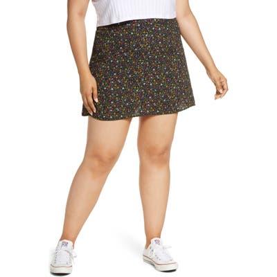 Plus Size Bp. Print Mini Skater Skirt, Black