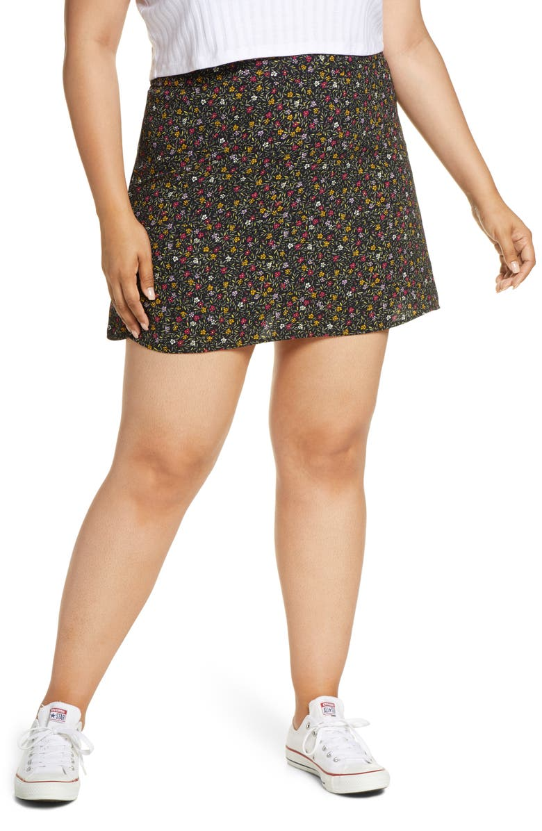 BP. Print Mini Skater Skirt, Main, color, BLACK DENSE DITSY