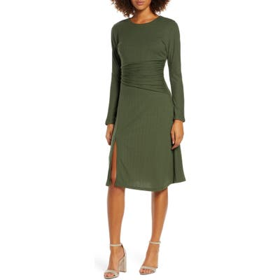 Ali & Jay Sleight Of Hand Ruched Waist Long Sleeve Dress, Green