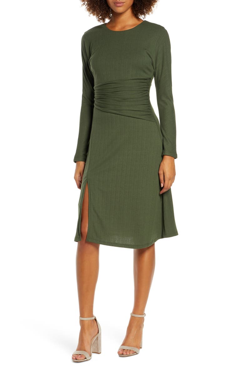 ALI & JAY Sleight of Hand Ruched Waist Long Sleeve Dress, Main, color, ARMY