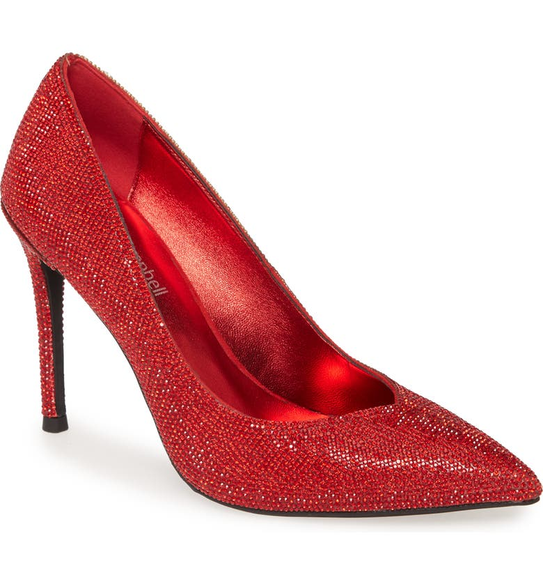 JEFFREY CAMPBELL Lure-JS Crystal Embellished Pointed Toe Pump, Main, color, RED