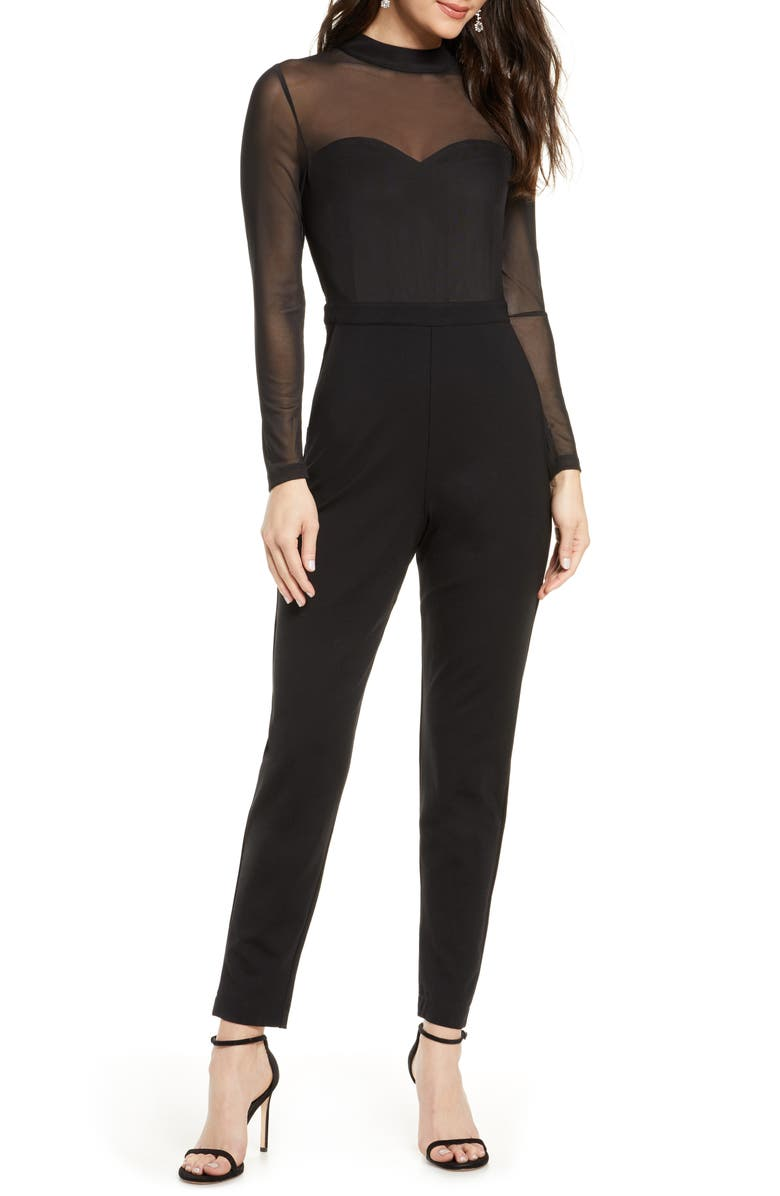 FRENCH CONNECTION Long Sleeve Mesh & Jersey Jumpsuit, Main, color, 001