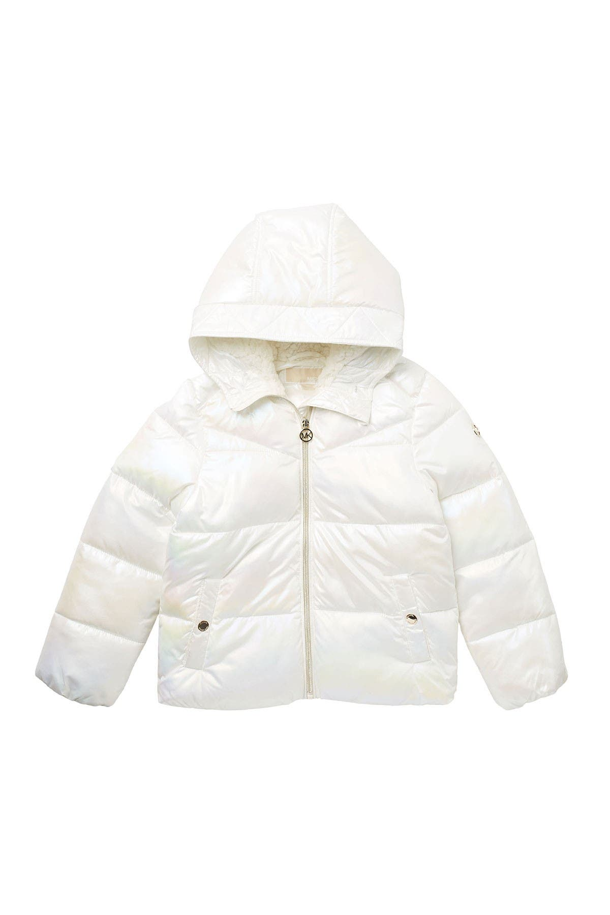 Image of Michael Kors Faux Shearling Lined Hood Iridescent Puffer Jacket