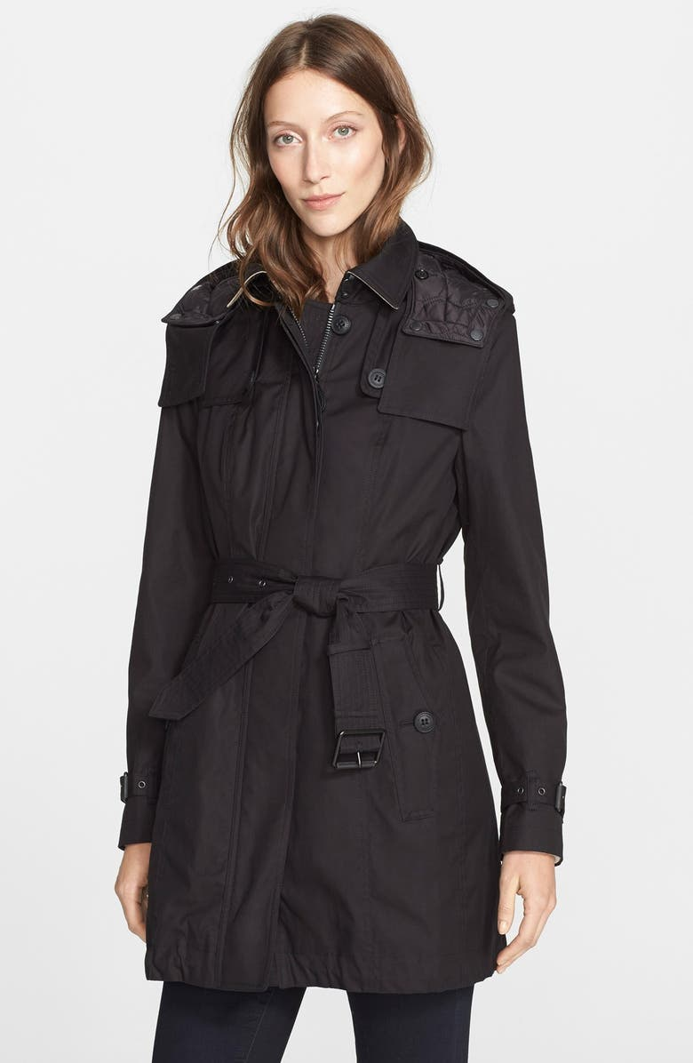BURBERRY BRIT 'Fenstone' Single Breasted Trench Coat, Main, color, 001