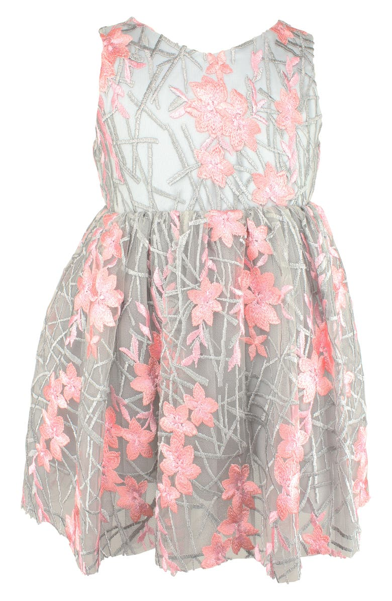 POPATU Embroidered Flower Fit & Flare Dress, Main, color, GREY