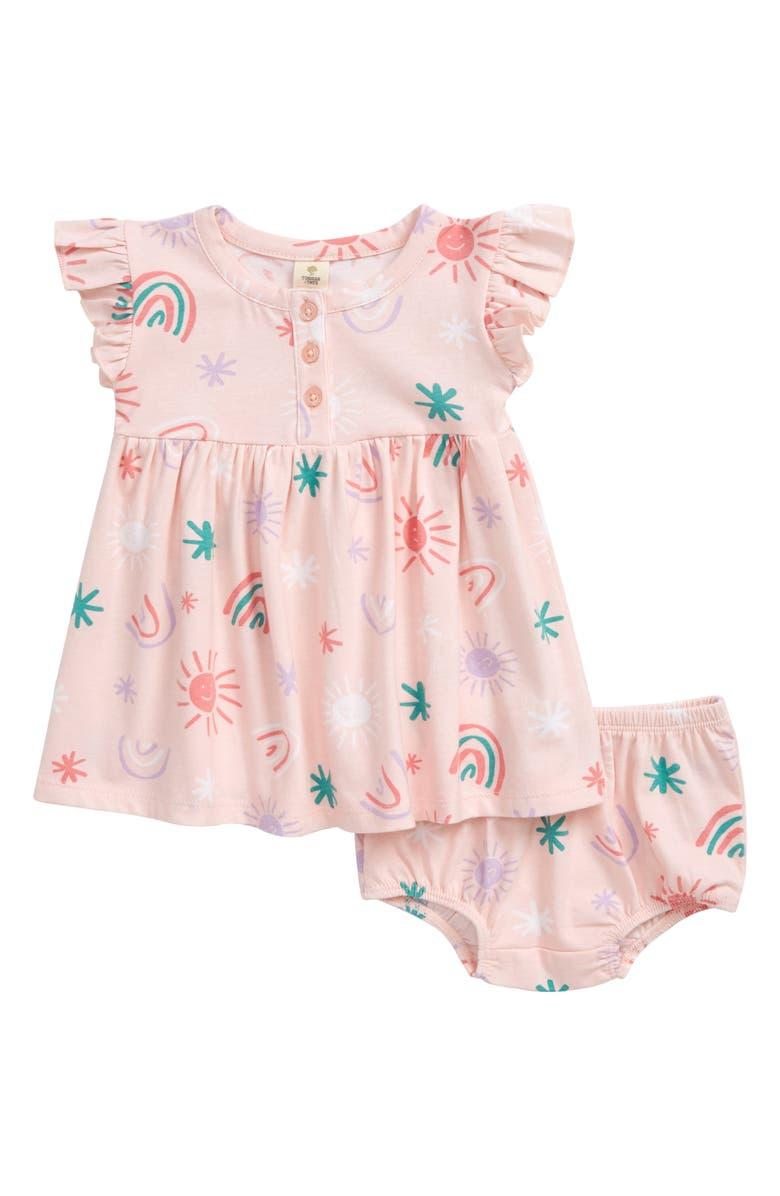 TUCKER + TATE Flutter Sleeve Dress, Main, color, PINK ENGLISH RAINBOW SKIES