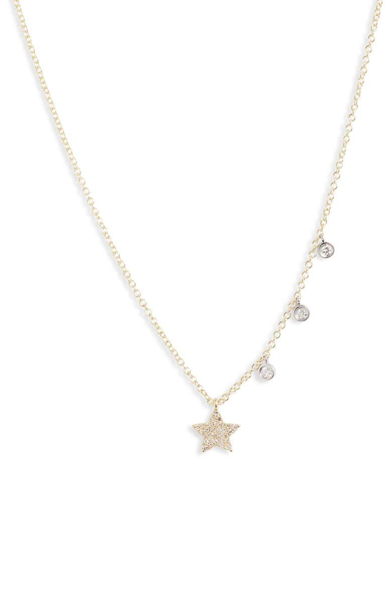 MEIRA T Diamond Pavé Charm Necklace, Main, color, YELLOW GOLD