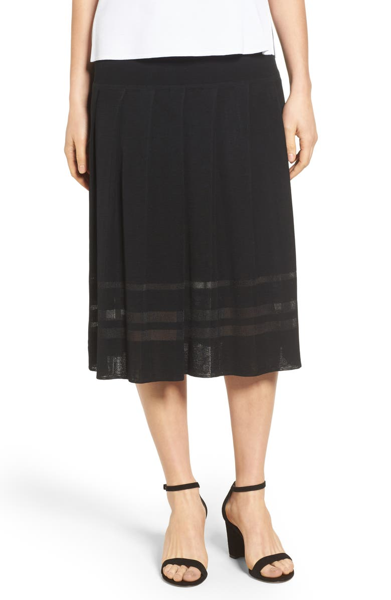 MING WANG Pleated Midi Skirt, Main, color, BLACK