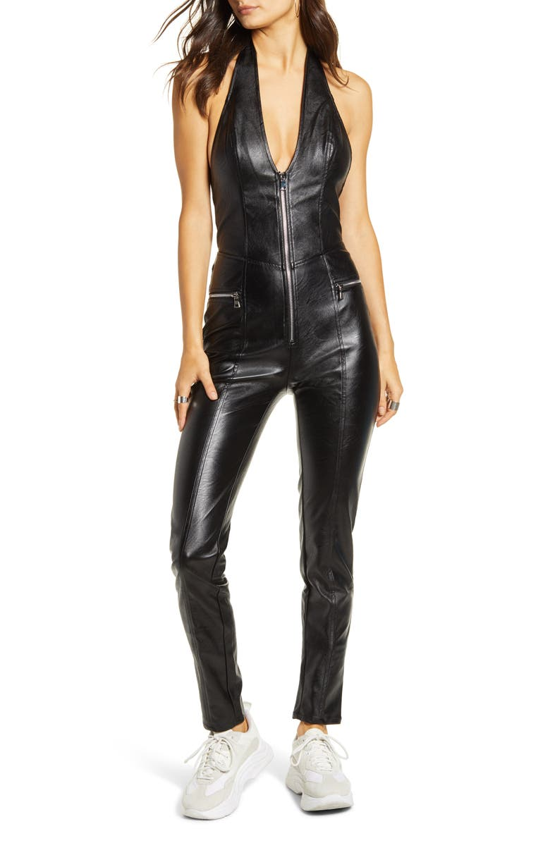 TIGER MIST Plunge Neck Open Back Faux Leather Jumpsuit, Main, color, BLACK