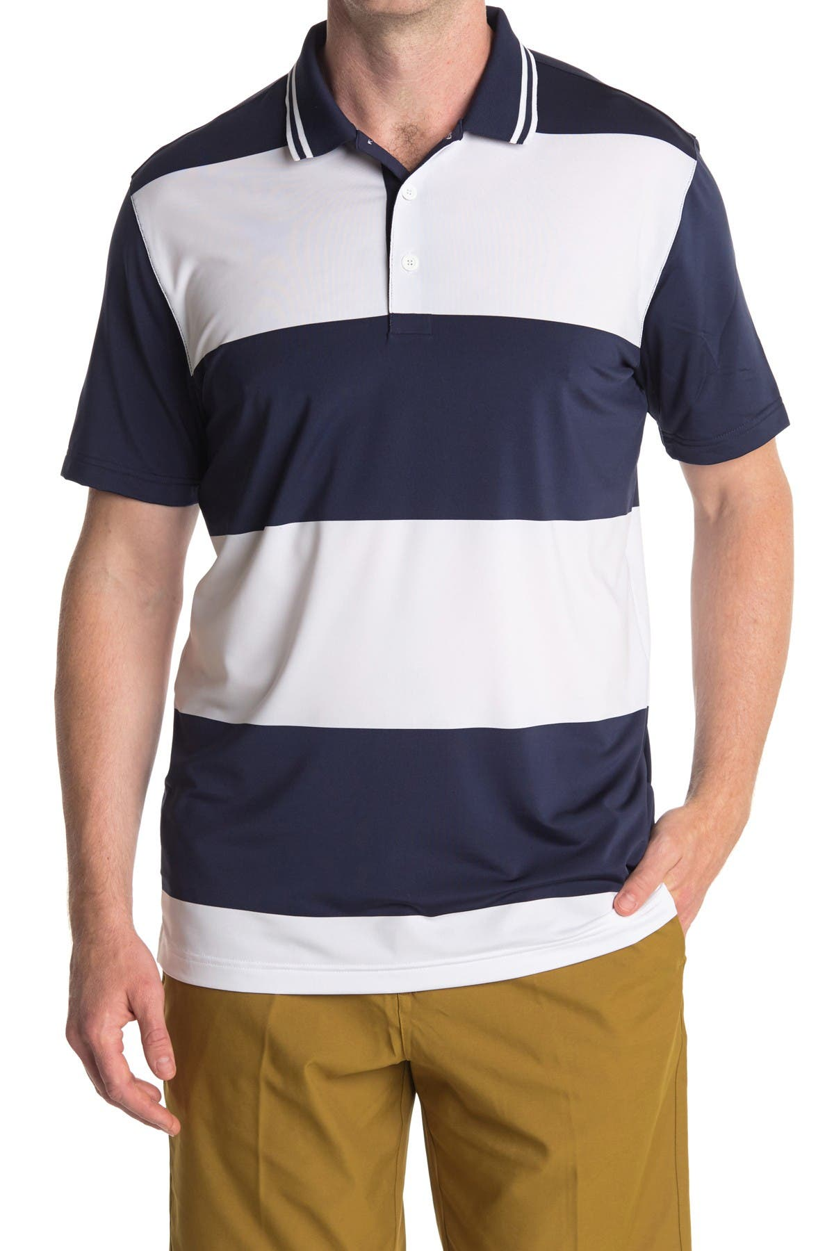 Image of PUMA White Striped Rugby Golf Polo