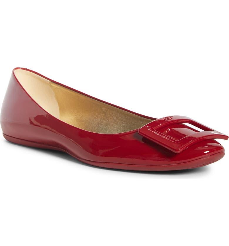 ROGER VIVIER Gommette Buckle Ballet Flat, Main, color, RED