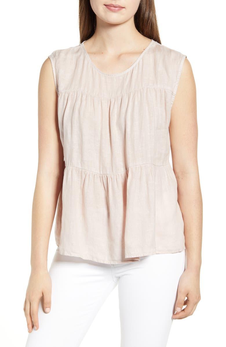 VELVET BY GRAHAM & SPENCER Tiered Ruffle Sleeveless Linen Top, Main, color, CORSET