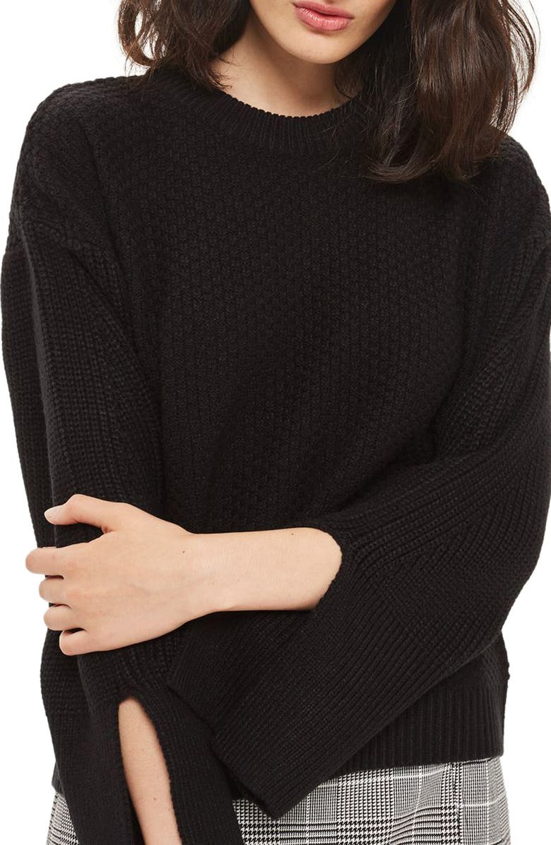 TOPSHOP Wide Sleeve Sweater, Main, color, 001