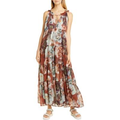 Fuzzi Floral Print Tiered Cotton Maxi Dress, US - White