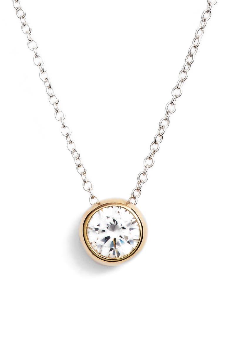 LAFONN Simulated Diamond Solitaire Necklace, Main, color, 040