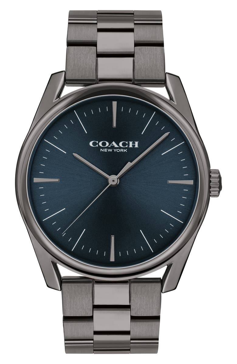 COACH Preston Bracelet Watch, 41mm, Main, color, GREY/ NAVY
