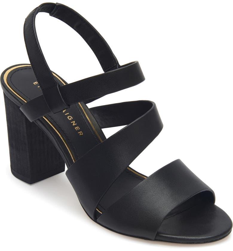 ETIENNE AIGNER Lane Block Heel Sandal, Main, color, BLACK LEATHER