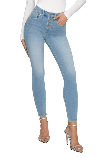 Good American GOOD LEGS BUTTON FLY ANKLE SKINNY JEANS